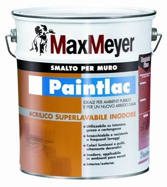 "PAINTLAC 5 Lt. Smalto per Muro Opaco  all'Acqua ""Certificato HACCP"" Max-Meyer"